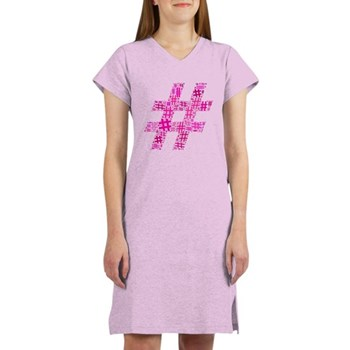 Pink Hashtag Cloud Women's Nightshirt