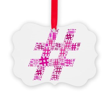 Pink Hashtag Cloud Picture Ornament