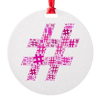 Pink Hashtag Cloud Round Ornament
