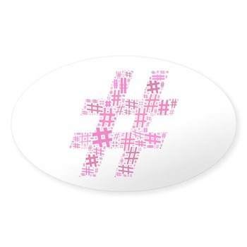 Pink Hashtag Cloud Sticker (Oval)