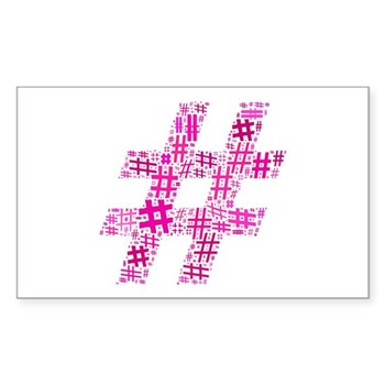 Pink Hashtag Cloud Sticker (Rectangle)