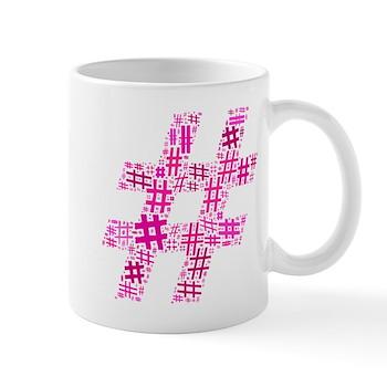 Pink Hashtag Cloud Mug