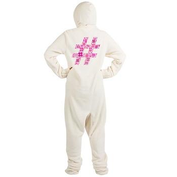 Pink Hashtag Cloud Footed Pajamas