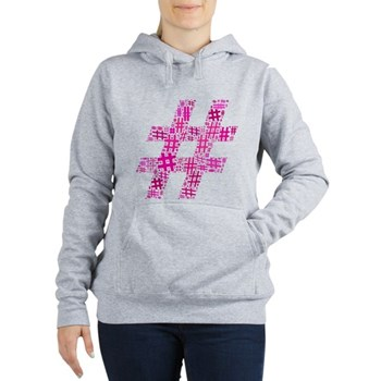 Pink Hashtag Cloud Women's Hooded Sweatshirt