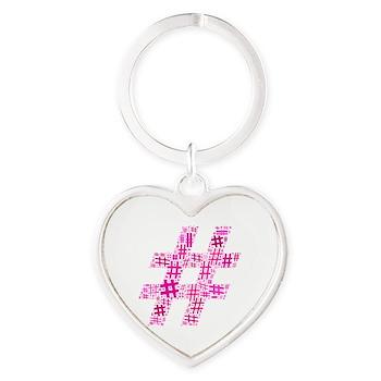 Pink Hashtag Cloud Heart Keychain