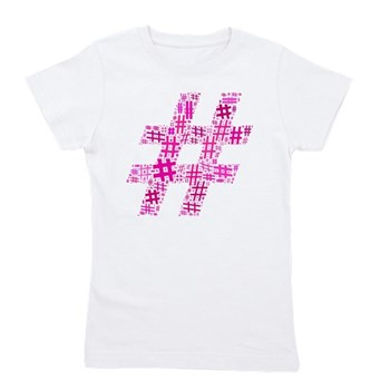 Pink Hashtag Cloud Girl's Tee