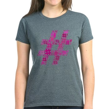 Pink Hashtag Cloud Women's Dark T-Shirt