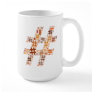 Orange Hashtag Cloud Large Mug
