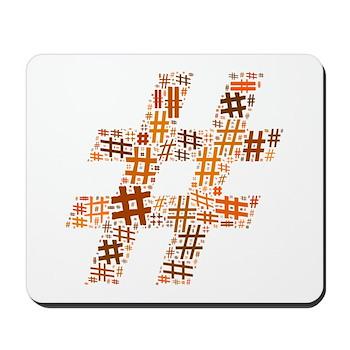 Orange Hashtag Cloud Mousepad