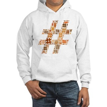 Orange Hashtag Cloud Hooded Sweatshirt