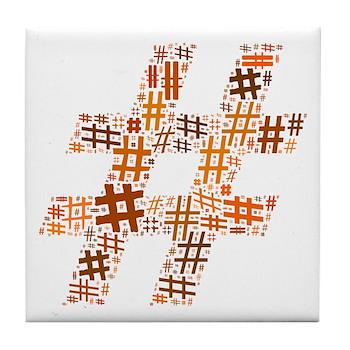 Orange Hashtag Cloud Tile Coaster
