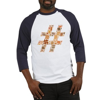 Orange Hashtag Cloud Baseball Jersey