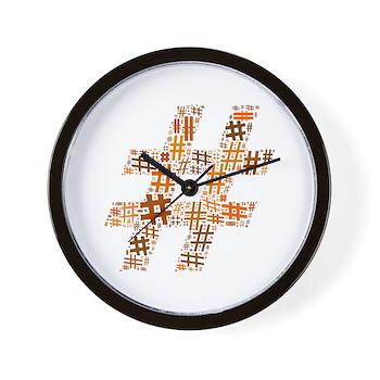 Orange Hashtag Cloud Wall Clock
