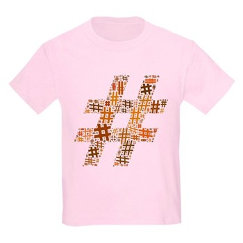 Orange Hashtag Cloud Kids Light T-Shirt