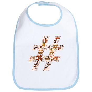 Orange Hashtag Cloud Bib