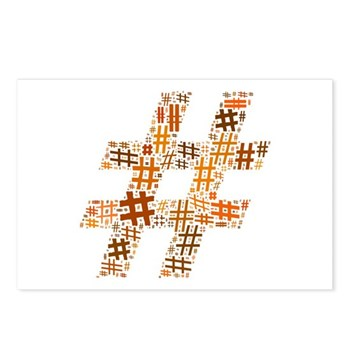 Orange Hashtag Cloud Postcards (Package of 8)