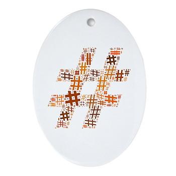 Orange Hashtag Cloud Oval Ornament
