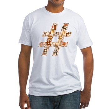 Orange Hashtag Cloud Fitted T-Shirt
