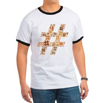 Orange Hashtag Cloud Ringer T-Shirt