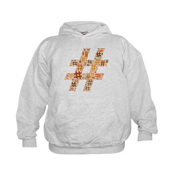 Orange Hashtag Cloud Kid's Hoodie