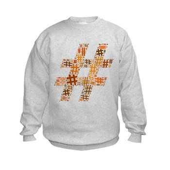 Orange Hashtag Cloud Kids Sweatshirt