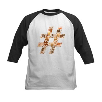 Orange Hashtag Cloud Kids Baseball Jersey