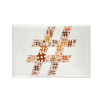 Orange Hashtag Cloud Rectangle Magnet