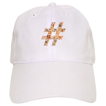 Orange Hashtag Cloud Cap