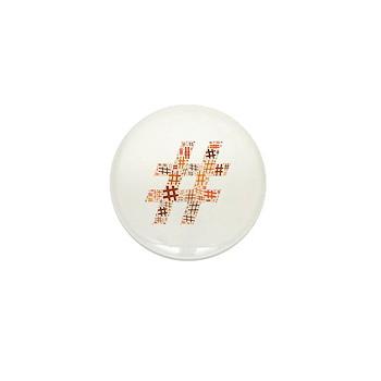 Orange Hashtag Cloud Mini Button