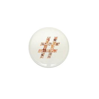 Orange Hashtag Cloud Mini Button (100 pack)