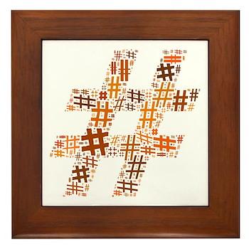 Orange Hashtag Cloud Framed Tile