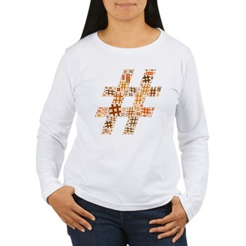 Orange Hashtag Cloud Women's Long Sleeve T-Shirt