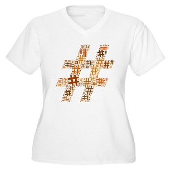 Orange Hashtag Cloud Women's Plus Size V-Neck T-Sh