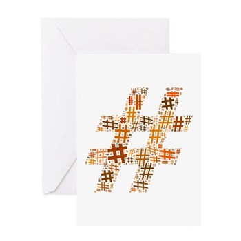 Orange Hashtag Cloud Greeting Card