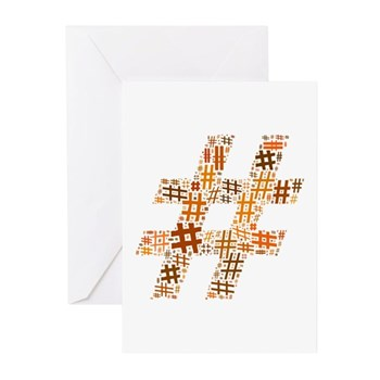 Orange Hashtag Cloud Greeting Cards (20 pack)