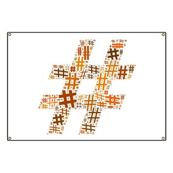 Orange Hashtag Cloud Banner