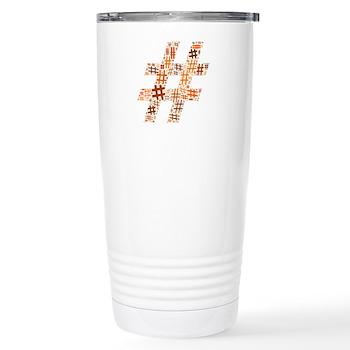 Orange Hashtag Cloud Stainless Steel Travel Mug