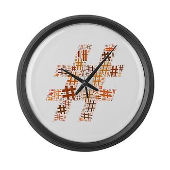 Orange Hashtag Cloud Large Wall Clock