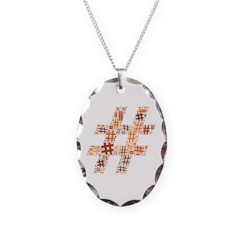 Orange Hashtag Cloud Necklace Oval Charm