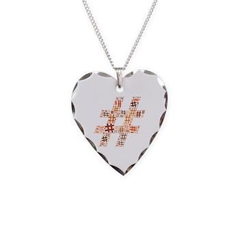 Orange Hashtag Cloud Necklace Heart Charm
