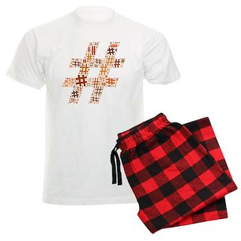 Orange Hashtag Cloud Men's Light Pajamas
