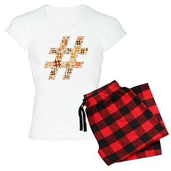 Orange Hashtag Cloud Women's Light Pajamas