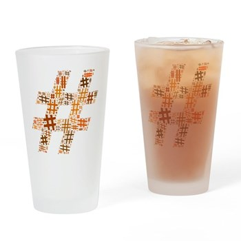Orange Hashtag Cloud Drinking Glass