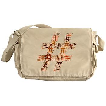 Orange Hashtag Cloud Canvas Messenger Bag