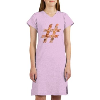 Orange Hashtag Cloud Women's Nightshirt