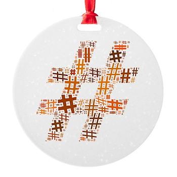 Orange Hashtag Cloud Round Ornament