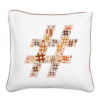 Orange Hashtag Cloud Square Canvas Pillow