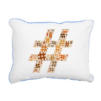 Orange Hashtag Cloud Rectangular Canvas Pillow