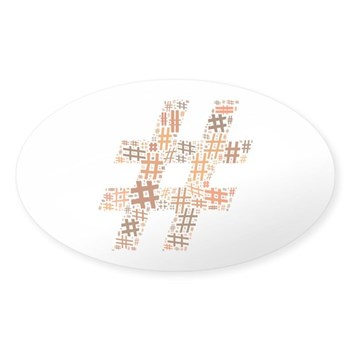 Orange Hashtag Cloud Oval Sticker