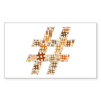 Orange Hashtag Cloud Rectangle Sticker